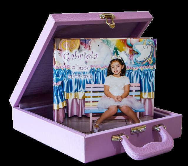 Album fotográfico infantil com maleta